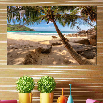 Beach Canvas Art - Palm Trees Framed Print on Canvas for Home / Seychelles Canvas Poster