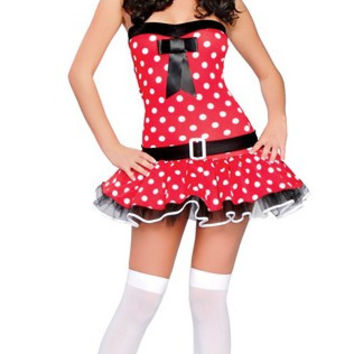 Red Polka Dot Strapless Dress Minnie Mouse Costume