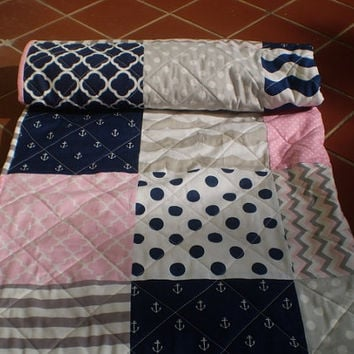 Nautical Baby quilt,baby girl quilt,baby girl bedding,nautical Crib quilt,navy blue,pink,grey,anchors,chevrons,waves,toddler,crib,Gal Nautic