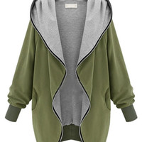 Bat Sleeve Hooded Trench Coat with Zipper