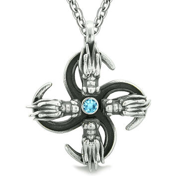 Supernatural Dragon Magic Powers All Forces of Nature Amulet Sky Blue Crystal Pendant 22 inch Necklace