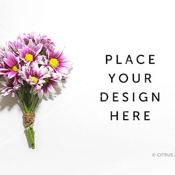 Styled Stock Photography - Product Presentation - Hero Image  -  Purple Daisy Bouquet on a Clean White Desktop