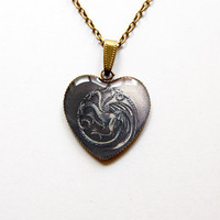 House Targaryen of King's Landing - Game of Thrones Jewelry - A Song of Ice and Fire - Handmade Vintage Cameo Pendant Necklace