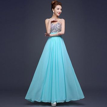 Long Evening Dress 2016 New Chiffon Sequins Deep V Neck Strap Women Formal Party Prom Gown Vestidos De Festa Vestido Longo