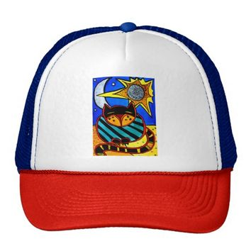 Sun And Moon Colorful Cat Design Trucker Hat