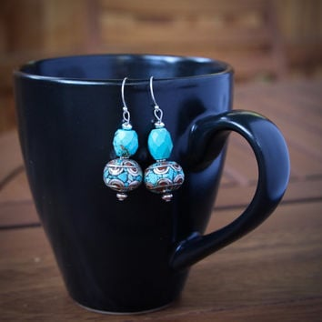 Blue Turquoise and Silver Earrings Gorgeous Faceted Turquoise and Fancy Tibetan Silver w Inlay on Sterling Hooks Gemstone Earrings