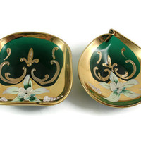 Murano Italy Green Glass Trinket Matching Dishes White Gold Enamel Handed Painted Flowers Fleur de Lis Blown Glass Italian