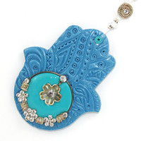 Wall decor, Polymer clay Hamsa, Good fortune Hamsa with blue and turquoise, evil eye protection