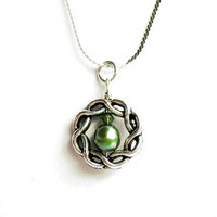 Celtic Knot, Green Pearl and Green Crystal Necklace - Real Freshwater Pearl  - on Sterling Silver Chain