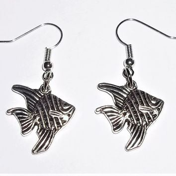 Angel Fish Silver Tone Artisan Crafted Dangle Earrings