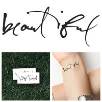 Beautiful - Temporary Tattoo (Set of 2)