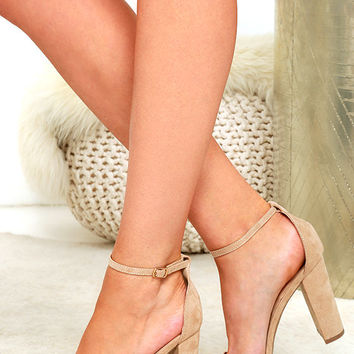 Taylor Natural Suede Ankle Strap Heels