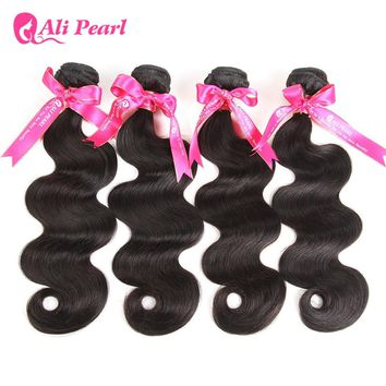 AliPearl Hair 100% Human Hair Bundles Body Wave Peruvian Hair Weave 4 Bundles Natural Black Remy Hair Extensions Free Shipping