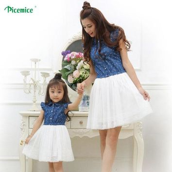 Mother Daughter Matching Cotton And Lace Dress