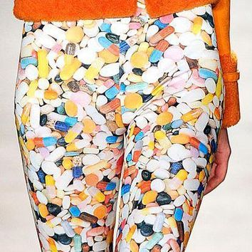 Jeremy Scott Pill Print Silk Leggings-DOSHABURI Shop