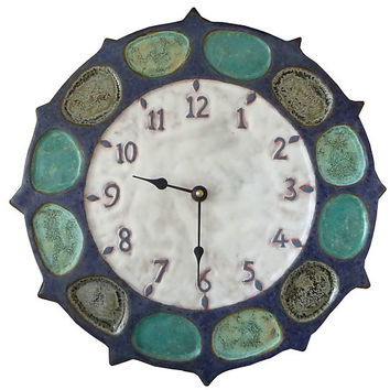 Nautical Wheel Ceramic Wall Clock in Blue and White by Beth Sherman: Ceramic Clock | Artful Home