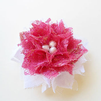 Hot Pink and White Flower Hair Clips, Lace Hair Pieces, Spring Summer Hair Accessories