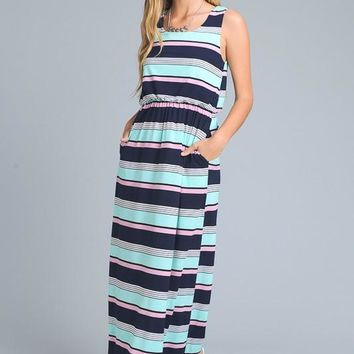 Striped Maxi Dress - Mint and Navy