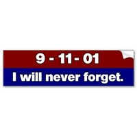 9/11: We Will Never Forget Bumper Sticker  from Zazzle.com