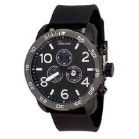 Black Geneva Watch Metal Oversized Case Mens Sport Rubber Band Designer