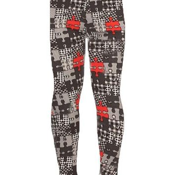 Girls Puzzle Pieces Leggings Autism Symbol Black/Red/White: S/L.