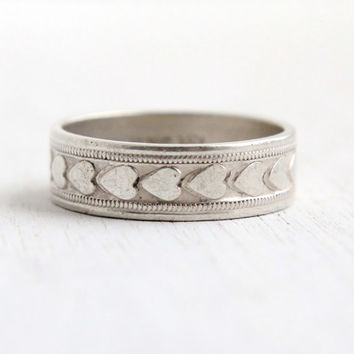 Vintage Sterling Silver Heart Eternity Ring - Retro Size 7.5 Cigar Wedding Band Milgrain Jewelry