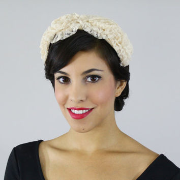 Vintage Off White Lace Headband - 1950s Wedding Bridal Ruffled Hat Accessory / Bridal Accessory