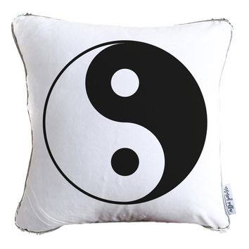 Ying Yang Decorative Throw Velvet Pillow w/ Silver & White Reversible Sequins
