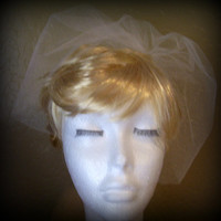 Tulle Birdcage Veil, Wedding Veil, Mini Tulle Veil, Short Blusher Veil, Available in White, Ivory or Black, Top Comb Style