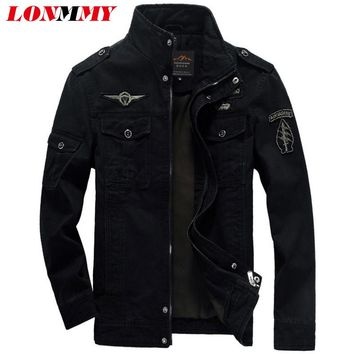LONMMY M-6XL Mens bomber jacket coat man jacket military Air Force One Cotton Camouflage jackets mens coats men Thick Velvet
