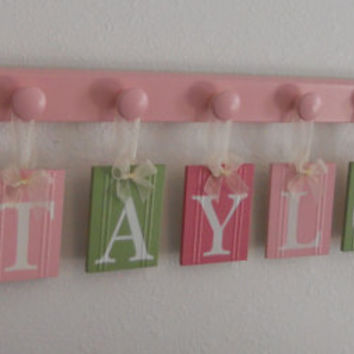 Wood Letters Kids Room Hanging Signs Gift for TAYLOR with BUTTERFLIES Nursery Themes Includes 8 Wooden Peg Hooks Pinks, Light Green