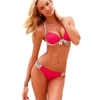 Ebuddy Push up Leopard Swimsuit Swimwear Bathing Suit Bikini Set Beachwear