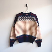 Warm Winter Wool Colorful Patterned Knit Sweater | Vintage Loser