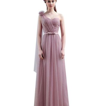 ONETOW Vestido SSYFashion One Shoulder Floor-length Long Bridesmaid Dresses Birde Simple Formal Party Gown Custom Homecoming Dresses