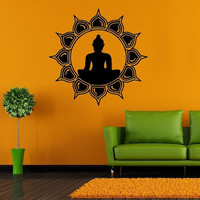 Wall Decor Vinyl Sticker Room Decal Art Yoga Buddha Sun God Symbol Faith Flower Meditation 997