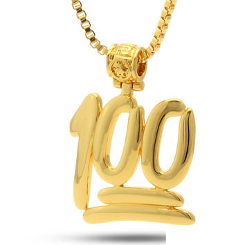 14K Gold 100 Points Emoji Necklace