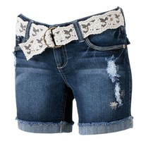 Wallflower Distressed Frayed Midi Shorts