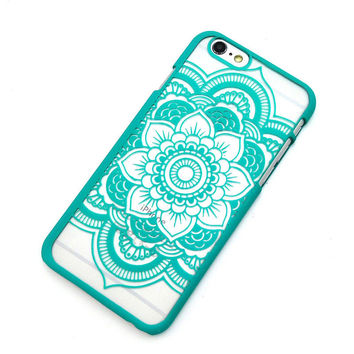 Beautiful Floral Henna Paisley Mandala Palace Flower Green Phone Back Bumper Cover Case For iPhone 5 5s 5C SE 6 6s 6 Plus 6s Plus