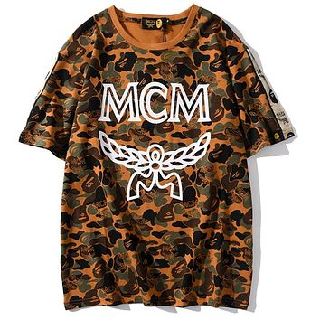 BAPE x MCM sweatershirt joint name tide brand camouflage desert T-shirt brown