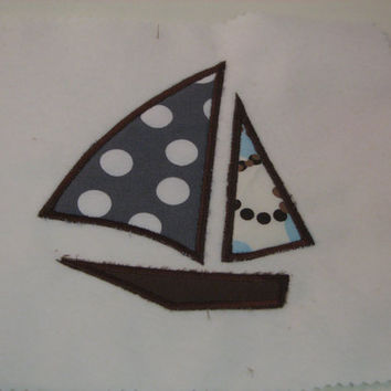 Three Sizes Boat Sailboat Applique Design for Machine Embroidery Instant Download