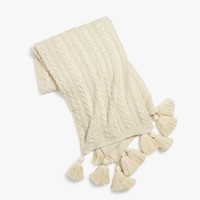 Beige Cable Knit Throw Blanket