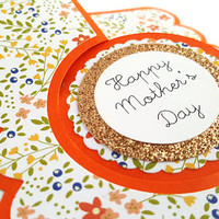 Happy Mother's Day card, handmade greeting card, card for mom, glitter, flip-it card, floral, mommy, grandmother, unique cards gifts for mom