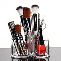 PuTwo PuTwo Makeup Organiser Brush Holder Birthday Gifts for Her Acrylic Desk Organiser- Round