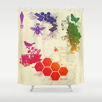multi color collage, queen bee by healinglove Shower Curtain by Healinglove art products