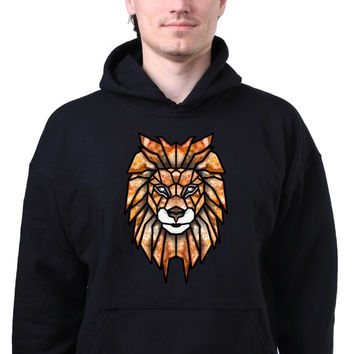 Geometric Lion Head Print Colorful Triangle Art Animal Sweatshirt Hoodie Jumper