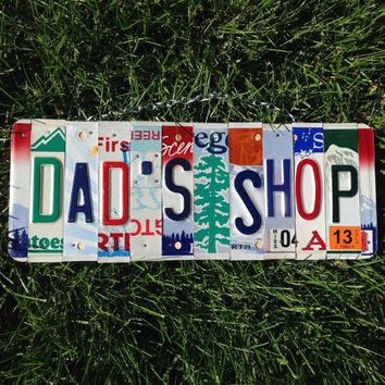 Dad. Garage. Father's day. Shop. Licenseplate sign. Car. Beer. Giftidea. Man. Mancave. Roomdecor