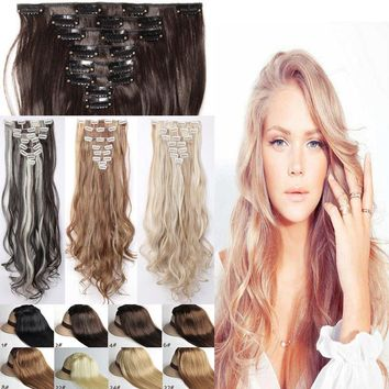 New Thick Clip In Full Head Hair Extensions 100% Natural 8 Piece As Human Blonde