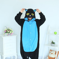 Midnight Cat Onesuits Black Cat Pajamas For Unisex Adult Pajamas Cosplay Costume Animal Onesuit Sleepwear