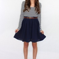Double Down Navy Striped Dress