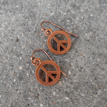 Peace, Copper Peace Sign Earrings